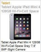 Tablet Apple iPad Mini 4 128GB Wi-Fi+Cell Space Gray 7.9 8MP iSight Camera  (Figura somente ilustrativa, não representa o produto real)