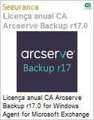 Licença anual CA Arcserve Backup r17.0 for Windows Agent for Microsoft Exchange - Competitive UPGRADE - Product plus 1 Year Enterprise Maintenance (Figura somente ilustrativa, não representa o produto real)