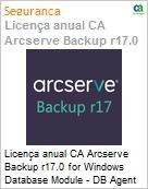 Licença anual CA Arcserve Backup r17.0 for Windows Database Module - DB Agent UPGRADE (in Maint) - Product plus 1 Year Enterprise Maintenance  (Figura somente ilustrativa, não representa o produto real)