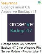 Licença anual CA Arcserve Backup r17.0 for Windows File Server Module - Product plus 1 Year Enterprise Maintenance  (Figura somente ilustrativa, não representa o produto real)
