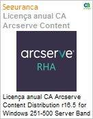 Licença anual CA Arcserve Content Distribution r16.5 for Windows 251-500 Server Band - Product plus 1 Year Enterprise Maintenance  (Figura somente ilustrativa, não representa o produto real)