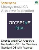 Licença anual CA Arcserve Replication r16.5 for Windows Standard OS with Assured Recovery - Competitive/ Prior Version UPGRADE - Product plus 1 Year Enterprise Maintenance (Figura somente ilustrativa, não representa o produto real)
