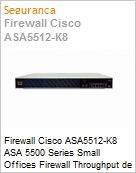 Firewall Cisco ASA5512-K8 ASA 5500 Series Small Offices Firewall Throughput de 1 GBps com 6 portas Gigabit + VPN IPSec e SSL  (Figura somente ilustrativa, não representa o produto real)