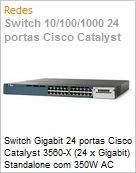 Switch Gigabit 24 portas Cisco Catalyst 3560-X (24 x Gigabit) Standalone com 350W AC power supply 1 RU, IP Base feature set  (Figura somente ilustrativa, não representa o produto real)