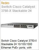 Switch Cisco Catalyst 3750-X Stackable 24 10/100/1000 Ethernet PoE+ ports, with 715W AC Power Supply 1 RU, IP Base feature set  (Figura somente ilustrativa, não representa o produto real)