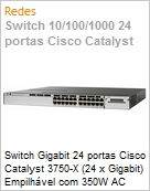 Switch Gigabit 24 portas Cisco Catalyst 3750-X (24 x Gigabit) Empilhável com 350W AC power supply 1 RU, IP Base feature set  (Figura somente ilustrativa, não representa o produto real)