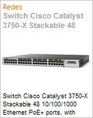Switch Cisco Catalyst 3750-X Stackable 48 10/100/1000 Ethernet PoE+ ports, with 715W AC power supply 1 RU, LAN Base feature set  (Figura somente ilustrativa, não representa o produto real)