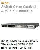 Switch Cisco Catalyst 3750-X Stackable 48 10/100/1000 Ethernet PoE+ ports, with 715W AC Power Supply 1 RU, IP Base feature set  (Figura somente ilustrativa, não representa o produto real)