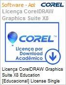 Licença CorelDRAW Graphics Suite X8 Education [Educacional] License Single User [SU] BP/ES/EN Windows  (Figura somente ilustrativa, não representa o produto real)