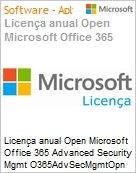 Licença anual Open Microsoft Office 365 Advanced Security Mgmt O365AdvSecMgmtOpn ShrdSvr SNGL SubsVL OLP NL Annual Acdmc [Educacional] Fclty Qualified [QLFD] (Figura somente ilustrativa, não representa o produto real)