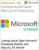 Licença anual Open Microsoft Enterprise Mobility and Security E5 Add-on EntMobandSecE5OpenAddOn ShrdSvr SNGLSubsVL OLP NL Annual Fclty AddOnQlfd (Figura somente ilustrativa, não representa o produto real)
