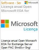 Licença anual Open Microsoft EOA for Exchange Server Open FAC ShrdSvr Sngl SubscriptionVL Academic OLP 1License NoLevel Qualified [QLFD] Annual [EDUCACIONAL] (Figura somente ilustrativa, não representa o produto real)