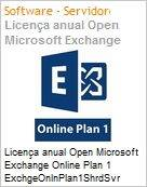 Licença anual Open Microsoft Exchange Online Plan 1 ExchgeOnlnPlan1ShrdSvr SNGL SubsVL OLP NL Annual Qualified [QLFD]  (Figura somente ilustrativa, não representa o produto real)