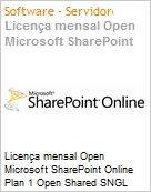 Licença mensal Open Microsoft SharePoint Online Plan 1 Open Shared SNGL Monthly Subscriptions-Volume License OPEN 1 License No Level Qualified [QLFD] Annual (Figura somente ilustrativa, não representa o produto real)