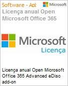 Licença anual Open Microsoft Office 365 Advanced eDisc add-on O365AdveDiscAddOnOpen ShrdSvr SNGL Subs OLP NL Annual toO365 AddOn Qualified [QLFD] (Figura somente ilustrativa, não representa o produto real)