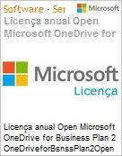Licença anual Open Microsoft OneDrive for Business Plan 2 OneDriveforBsnssPlan2Open ShrdSvr SNGL SubsVL OLP NL Annual Qualified [QLFD]  (Figura somente ilustrativa, não representa o produto real)