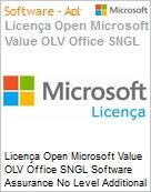 Licença Open Microsoft Value OLV Office SGNL Software Assurance No Level Additional Product 1 Year Acquired year 3  (Figura somente ilustrativa, não representa o produto real)