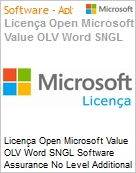 Licença Open Microsoft Value OLV Word SNGL Software Assurance No Level Additional Product 1 Year Acquired year 1  (Figura somente ilustrativa, não representa o produto real)