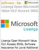 Licença Open Microsoft Value OLV Access SGNL Software Assurance No Level Additional Product 1 Year Acquired year 2  (Figura somente ilustrativa, não representa o produto real)