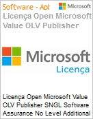 Licença Open Microsoft Value OLV Publisher SNGL Software Assurance No Level Additional Product 1 Year Acquired year 3  (Figura somente ilustrativa, não representa o produto real)