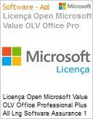 Licença Open Microsoft Value OLV Office Professional Plus All Lng Software Assurance 1 License No Level Enterprise 3 Year Acquired year 1  (Figura somente ilustrativa, não representa o produto real)