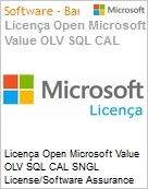 Licença Open Microsoft Value OLV SQL CAL SNGL License/Software Assurance Pack [LicSAPk] No Level Additional Product User CAL 1 Year Acquired year 3 (Figura somente ilustrativa, não representa o produto real)