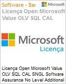 Licença Open Microsoft Value OLV SQL CAL SGNL Software Assurance No Level Additional Product CAL User 1 Year Acquired year 1  (Figura somente ilustrativa, não representa o produto real)