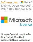 Licença Open Microsoft Value OLV Outlook Mac Sngl License/Software Assurance Pack [LicSAPk] 1 License No Level Additional Product 1 Year Acquired year 1 (Figura somente ilustrativa, não representa o produto real)