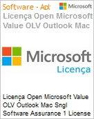 Licença Open Microsoft Value OLV Outlook Mac Sngl Software Assurance 1 License No Level Additional Product 1 Year Acquired year 1  (Figura somente ilustrativa, não representa o produto real)