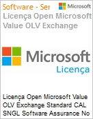 Licença Open Microsoft Value OLV Exchange Standard CAL SNGL Software Assurance No Level Additional Product User CAL User CAL 1 Year Acquired year 3 (Figura somente ilustrativa, não representa o produto real)
