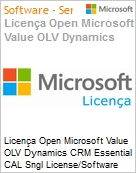 Licença Open Microsoft Value OLV Dynamics CRM Essential CAL Sngl License/Software Assurance Pack [LicSAPk] 1 License No Level Additional Product User CAL User CAL 1 Year A (Figura somente ilustrativa, não representa o produto real)