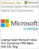 Licença Open Microsoft Value OLV Dynamics CRM Basic Add CAL Sngl License/Software Assurance Pack [LicSAPk] 1 License No Level Additional Product User CAL User CAL 1 Year A (Figura somente ilustrativa, não representa o produto real)