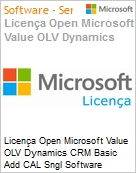 Licença Open Microsoft Value OLV Dynamics CRM Basic Add CAL Sngl Software Assurance 1 License No Level Additional Product User CAL User CAL 1 Year Acquired year (Figura somente ilustrativa, não representa o produto real)