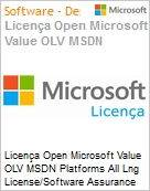 Licença Open Microsoft Value OLV MSDN Platforms All Lng License/Software Assurance Pack [LicSAPk] 1 License No Level Additional Product 1 Year Acquired year 1 (Figura somente ilustrativa, não representa o produto real)
