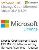 Licença Open Microsoft Value OLV MSDN Platforms All Lng Software Assurance 1 License No Level Additional Product 1 Year Acquired year 1  (Figura somente ilustrativa, não representa o produto real)