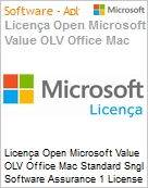 Licença Open Microsoft Value OLV Office Mac Standard Sngl Software Assurance 1 License No Level Additional Product 1 Year Acquired year 2  (Figura somente ilustrativa, não representa o produto real)