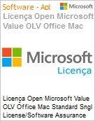 Licença Open Microsoft Value OLV Office Mac Standard SGNL License/Software Assurance Pack [LicSAPk] 1 License No Level Additional Product 1 Year Acquired year 3 (Figura somente ilustrativa, não representa o produto real)
