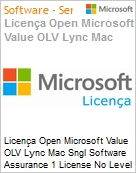 Licença Open Microsoft Value OLV Lync Mac Sngl Software Assurance 1 License No Level Additional Product 1 Year Acquired year 3  (Figura somente ilustrativa, não representa o produto real)