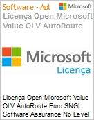 Licença Open Microsoft Value OLV AutoRoute Euro SNGL Software Assurance No Level Additional Product 1 Year Acquired year 2  (Figura somente ilustrativa, não representa o produto real)