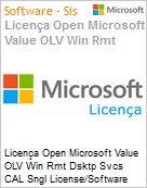 Licença Open Microsoft Value OLV Win Rmt Dsktp Svcs CAL Sngl License/Software Assurance Pack [LicSAPk] 1 License No Level Additional Product Device CAL Device CAL 2 Year A (Figura somente ilustrativa, não representa o produto real)