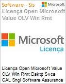 Licença Open Microsoft Value OLV Win Rmt Dsktp Svcs CAL Sngl Software Assurance 1 License No Level Additional Product User CAL User CAL 2 Year Acquired year 2 (Figura somente ilustrativa, não representa o produto real)