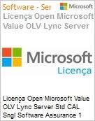 Licença Open Microsoft Value OLV Lync Server Std CAL Sngl Software Assurance 1 License No Level Additional Product User CAL User CAL 1 Year Acquired year 3 (Figura somente ilustrativa, não representa o produto real)
