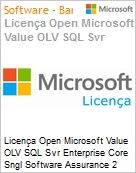 Licença Open Microsoft Value OLV SQL Svr Enterprise Core Sngl Software Assurance 2 Licenses No Level Additional Product Core License 1 Year Acquired year 3 (Figura somente ilustrativa, não representa o produto real)