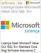 Licença Open Microsoft Value OLV SQL Svr Standard Core SGNL Software Assurance 2 Licenses No Level Additional Product Core License 1 Year Acquired year 2 (Figura somente ilustrativa, não representa o produto real)
