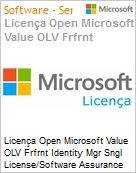Licença Open Microsoft Value OLV Frfrnt Identity Mgr Sngl License/Software Assurance Pack [LicSAPk] 1 License No Level Additional Product 2 Year Acquired year 2 (Figura somente ilustrativa, não representa o produto real)