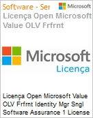 Licença Open Microsoft Value OLV Frfrnt Identity Mgr Sngl Software Assurance 1 License No Level Additional Product 2 Year Acquired year 2  (Figura somente ilustrativa, não representa o produto real)