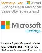 Licença Open Microsoft Value OLV Streets and Trips SNGL Software Assurance No Level Additional Product 1 Year Acquired year 1  (Figura somente ilustrativa, não representa o produto real)