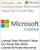 Licença Open Microsoft Value OLV Excel Mac SNGL License/Software Assurance Pack [LicSAPk] No Level Additional Product 1 Year Acquired year 3  (Figura somente ilustrativa, não representa o produto real)