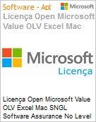 Licença Open Microsoft Value OLV Excel Mac SNGL Software Assurance No Level Additional Product 1 Year Acquired year 3  (Figura somente ilustrativa, não representa o produto real)