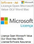 Licença Open Microsoft Value OLV Word Mac SNGL License/Software Assurance Pack [LicSAPk] No Level Additional Product 2 Year Acquired year 2  (Figura somente ilustrativa, não representa o produto real)